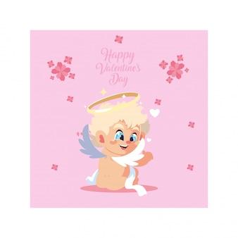 Biglietto di auguri per san valentino, dolce cupido angelo