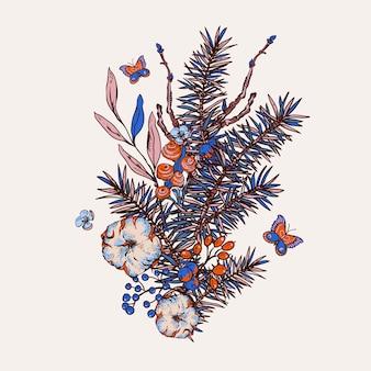 Biglietto di auguri primavera floreale vintage con rami di abete, cotone, fiori e farfalle