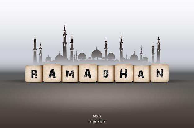 Biglietto di auguri ramadan kareem con testo ramadan e moschea