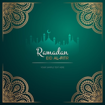 Biglietto di auguri ramadan kareem design con mandala