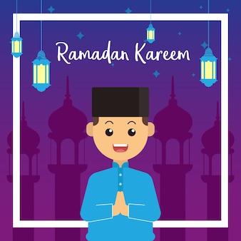 Biglietto di auguri ramadan kid con moschea e lanterna