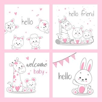 Biglietto di auguri rosa carino doodle