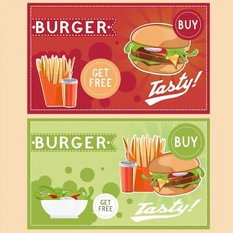 Biglietto di fast food con hamburger di patate fritte cola e insalata