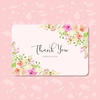 Biglietto di ringraziamento con acquerello cornice floreale