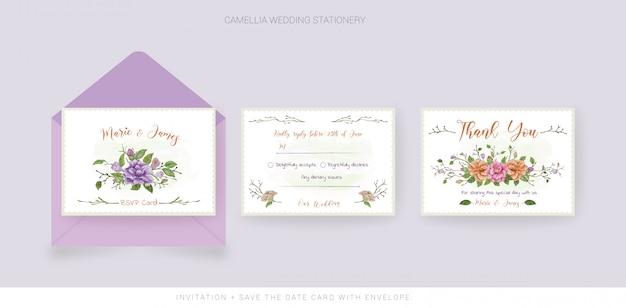 Biglietto di ringraziamento per matrimonio e rsvp con fiori ad acquerelli