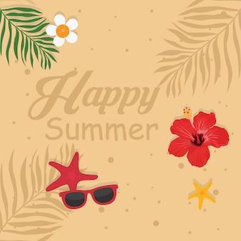 Biglietto di vacanza estiva con testo estate felice