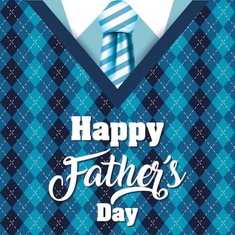 Biglietto festa del papà felice con abito elegante e cravatta
