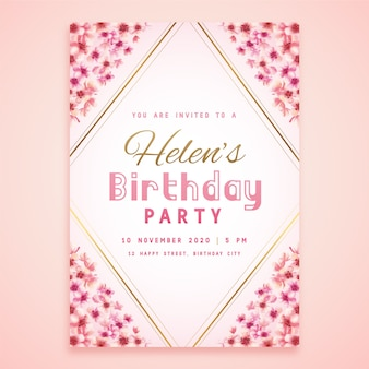 Biglietto floreale per la festa di compleanno di helen