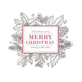 Biglietto natalizio. felice anno nuovo sfondo con rami di pino bacche e foglie