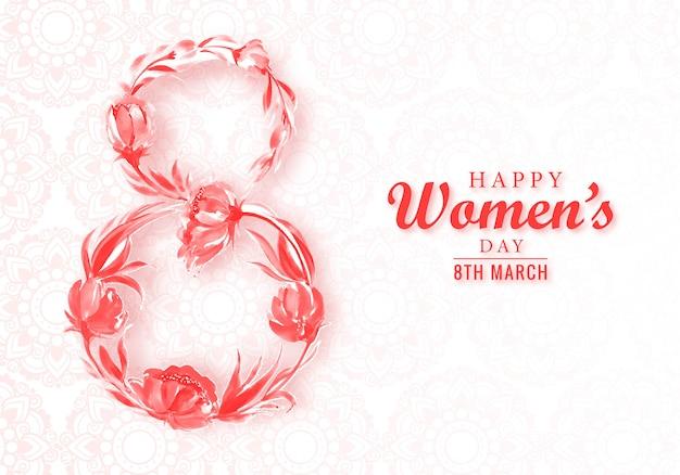 Biglietto per la festa della donna dell'8 marzo con fiori decorativi