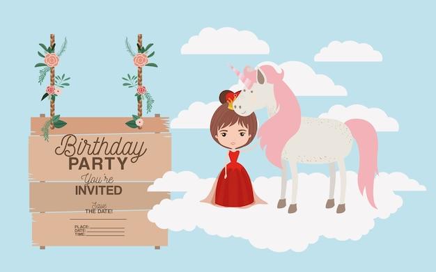 Biglietto per la festa di compleanno con unicorno e principessa