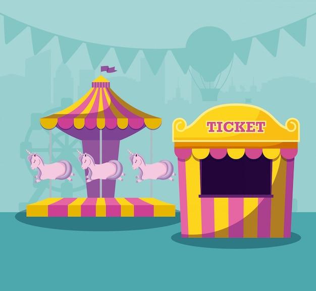 Biglietto per la vendita di tende da circo con carosello di unicorni