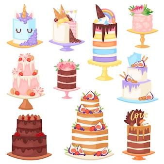 Bigné della torta di compleanno di vettore della torta di compleanno per il dolce e il dessert di cioccolato al forno del partito di nascita felice dall'illustrazione stabilita del forno isolata su fondo bianco