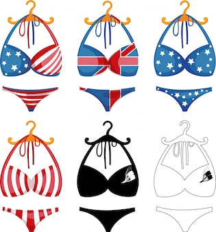 Bikini imposta illustrazione