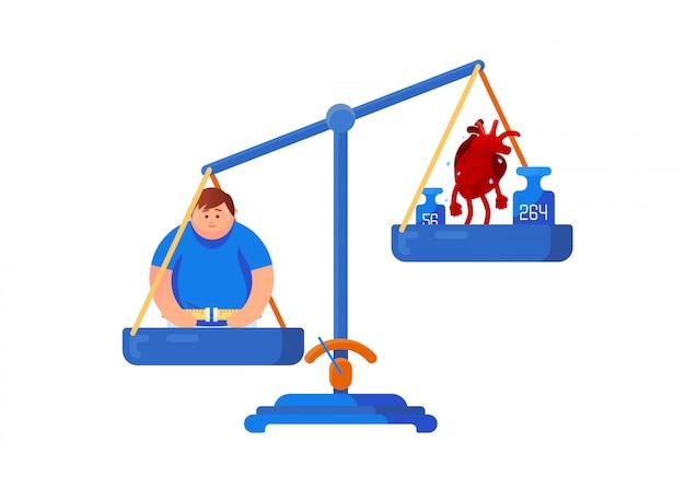 Bilance meccaniche con un uomo grasso e un cuore malato. assistenza sanitaria, dieta, concetto di equilibrio