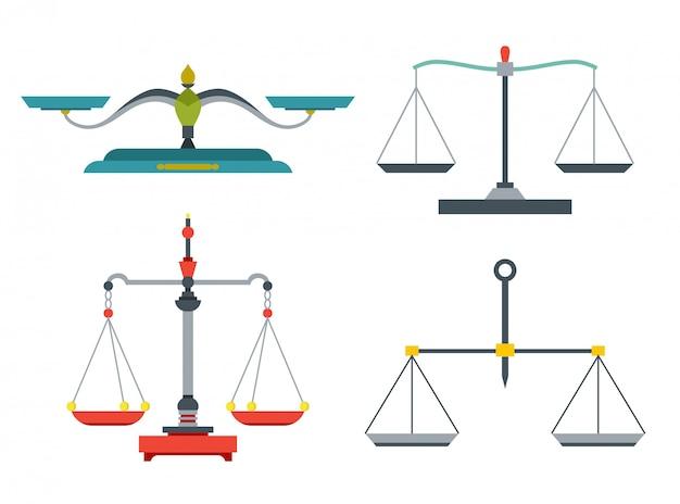 Bilancia le bilance con pesi e pentole uguali.