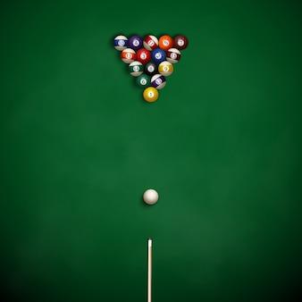Biliardo con le palle sul panno.