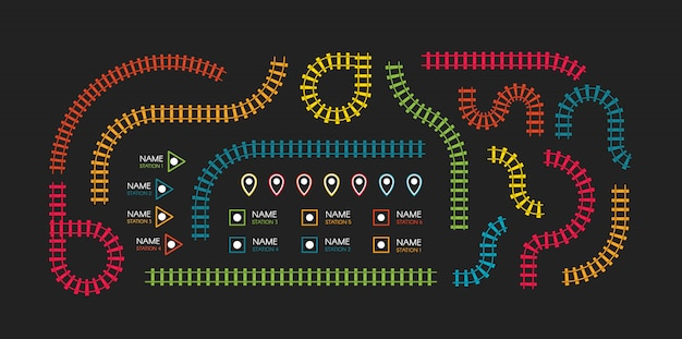 Binari ferroviari, direzione ferroviaria, binari del treno illustrazioni colorate. scale colorate, stazioni della metropolitana mappa vista dall'alto, elementi di infografica.