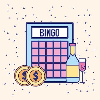 Bingo monete soldi e bevanda immagine della bottiglia