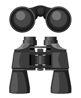Binocolo nero vista frontale e dall'alto. lente chiusa. illustrazione su sfondo bianco.