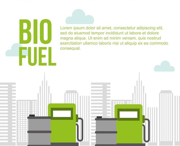 Biocarburanti stazione di pompaggio barili di gas città ambiente