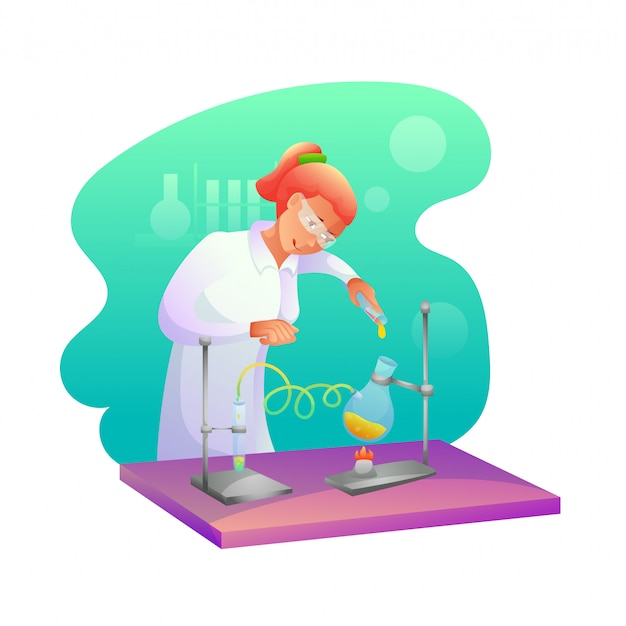 Biochimico che fa l'illustrazione piana di ricerca