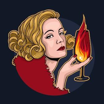 Bionda con un bicchiere di fuoco