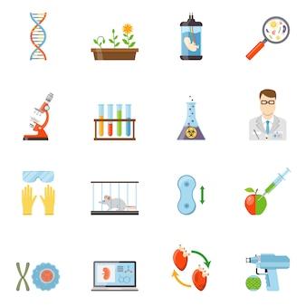 Biotecnologie e genetiche icone a colori