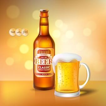 Birra artigianale in bottiglia e tazza con schiuma poster