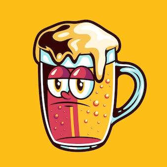 Birra con cartone animato faccia triste