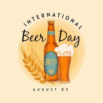 Birra deliziosa in bottiglia e foglie di luppolo