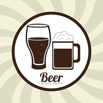 Birra design illustrazione beige