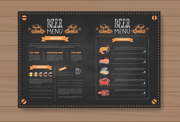 Birra e frutti di mare menu design per ristorante cafe pub col gesso