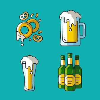 Birra e spuntini s. icone colorate lineari per pub.