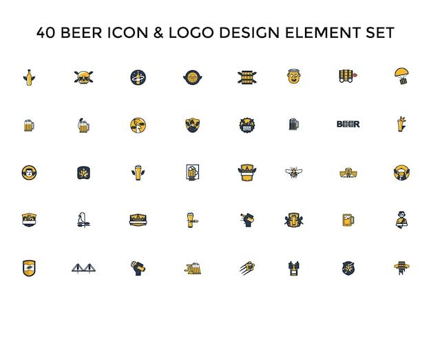 Birra icona logo design set