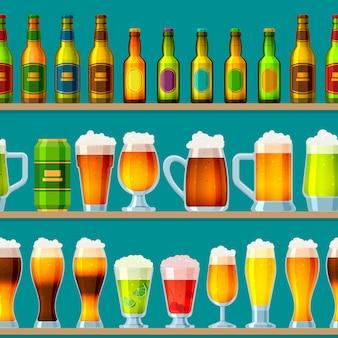 Birra nel birrificio birreria beermug o beerbottle e birra scura nel bar sulla festa della birra con alcool e birra in pub illustrazione sfondo seamless