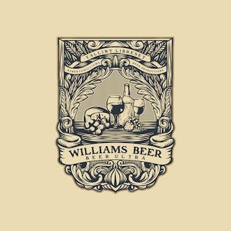 Birra vintage logo vettoriale