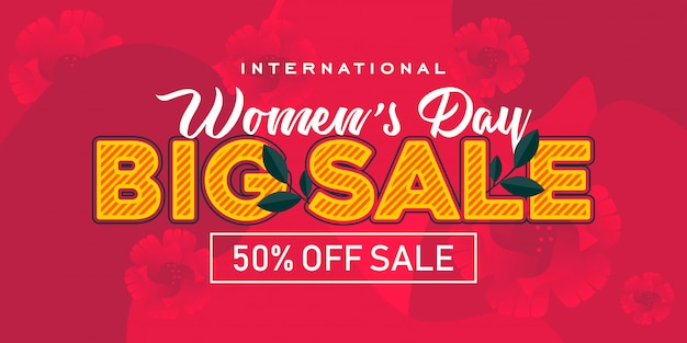 Bis sale in happy womens day banner