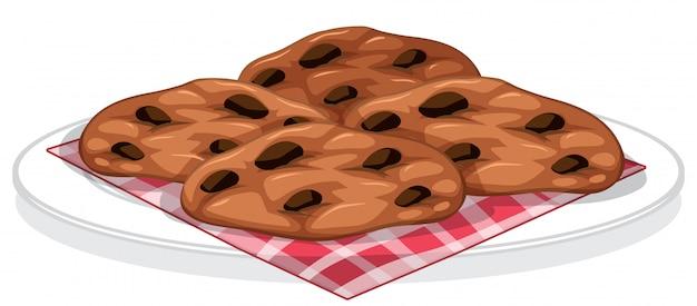Biscotti con gocce di cioccolato su un piatto