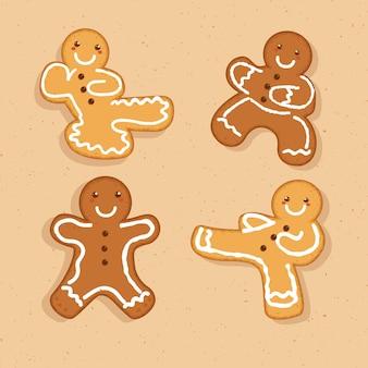 Biscotti dell'uomo di pan di zenzero che fanno raccolta di arti marziali
