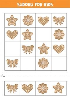 Biscotti di panpepato di cartone animato. gioco di sudoku per bambini.