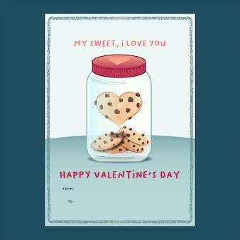 Biscotto a forma di cuore in una carta di san valentino barattolo
