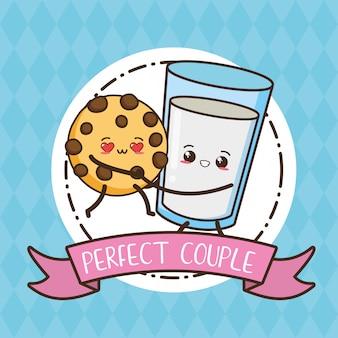 Biscotto e bicchiere di latte, alimento di kawaii, illustrazione