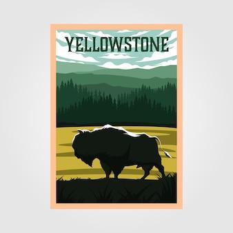 Bisonte sul poster vintage del parco nazionale di yellowstone