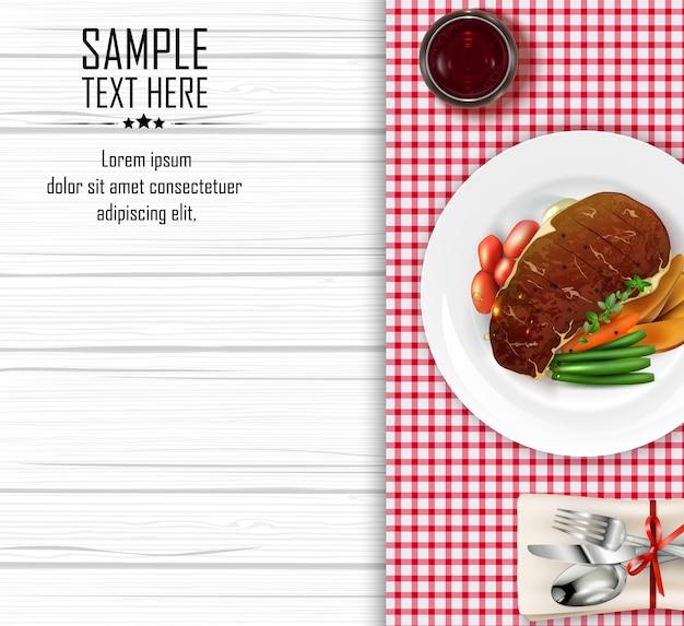 Bistecca di carne con verdure