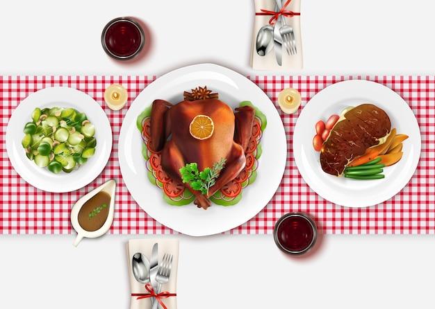 Bistecca di carne cotta con tacchino arrosto