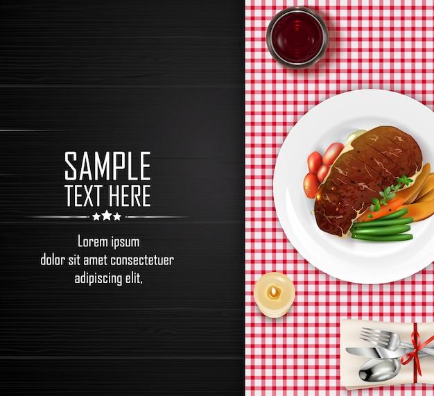 Bistecca di carne piatto realistico