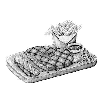 Bistecca disegnata a mano con patatine fritte