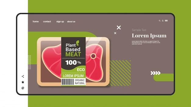 Bistecca vegetariana a base vegetale oltre carne nell'imballaggio dello spazio orizzontale organico della copia di concetto dell'alimento del vegano naturale organico