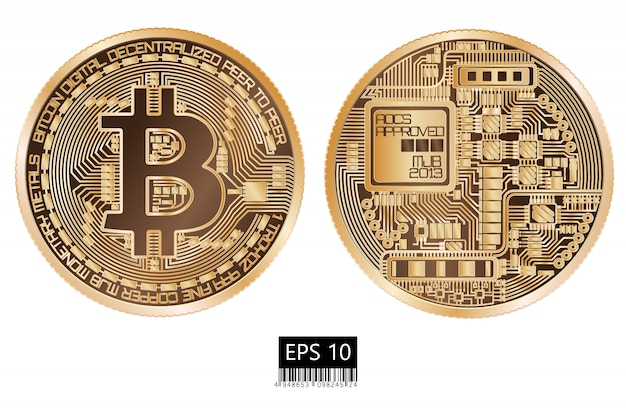 Bitcoin. bit fisico. valuta digitale. criptovaluta. moneta a doppia faccia con simbolo bitcoin isolato